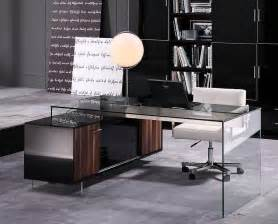 Office Desk Tables Contemporary Office Desk With Thick Acrylic Cabinet Support Legs Columbus Ohio V Alaska