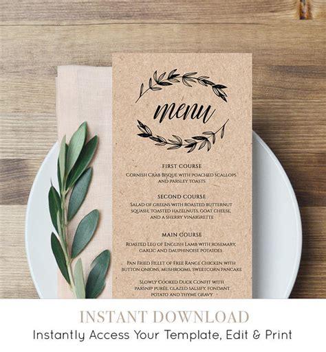 Free Printable Menu Cards Templates by Rustic Wedding Menu Template Printable Menu Card Editable