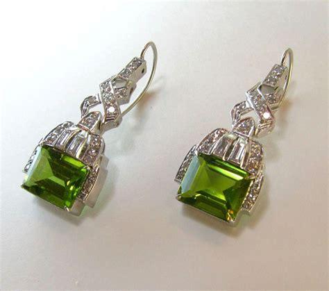 deco platinum peridot earrings from
