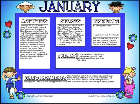 January Preschool Newsletter Template for valley k prep preschool llc january 2012
