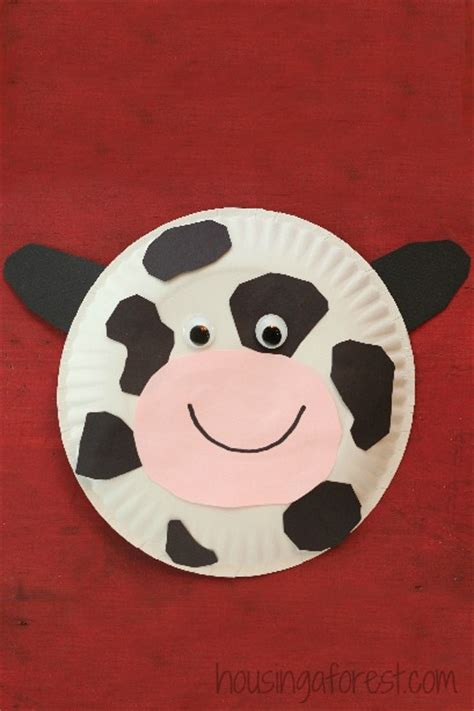 Cow Paper Craft - paper plate cow housing a forest
