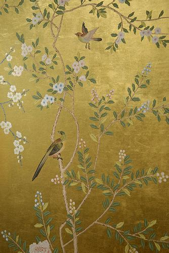 gold wallpaper panels behang de gournay chinoiserie historische behangsels