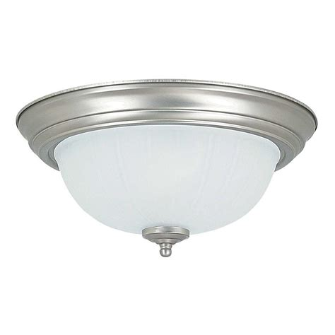 plc lighting 2 light ceiling satin nickel flush mount with