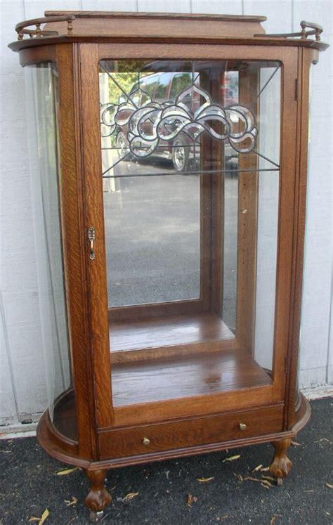 china cabinet with glass doors flat door oak china cabinet leaded glass door drawer ebay