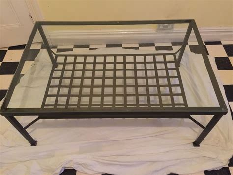 large ikea glass and metal coffee table in crossgates