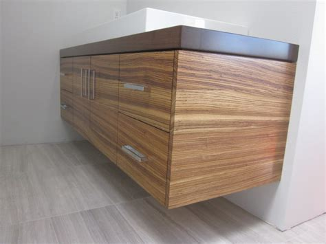 Lighting Over Kitchen Sink floating zebrawood vanity