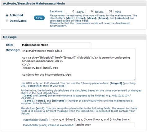 Wordpress Maintenance Mode Redirect Visitors To A Temporary Page Maintenance Notification Template