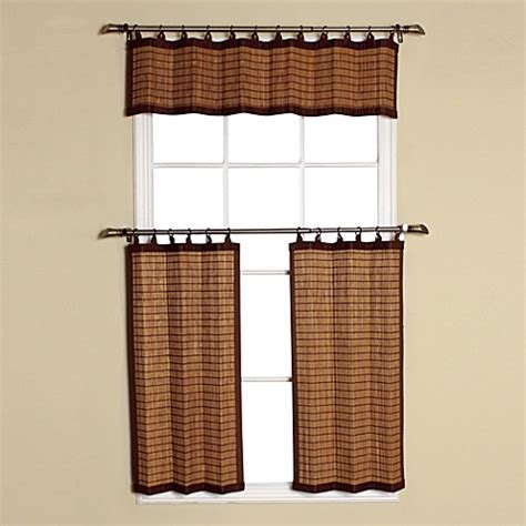 bamboo kitchen curtains buy easy glide all natural bamboo ring top window curtain