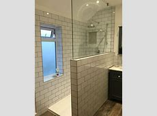 Our new Bathroom with metro/subway tiles and dark grey ... Inside Corner Moldings For Walls