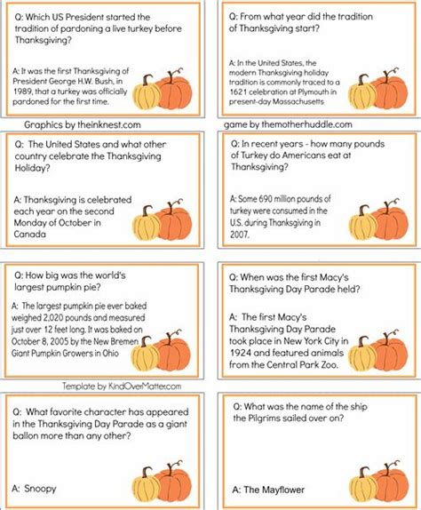 printable quiz cards how well do you know your thanksgiving