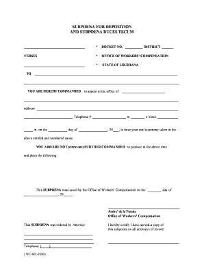 subpoena form fill online printable fillable blank