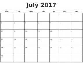 printable monthly calendar template july 2017 monthly calendar template