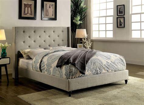 wind bed malibu wind back queen platform bed frame in beige bedroom