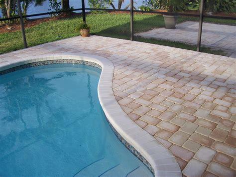 paver brick pool deck with brown concrete and pavers photos pool deck pavers home interior desgin
