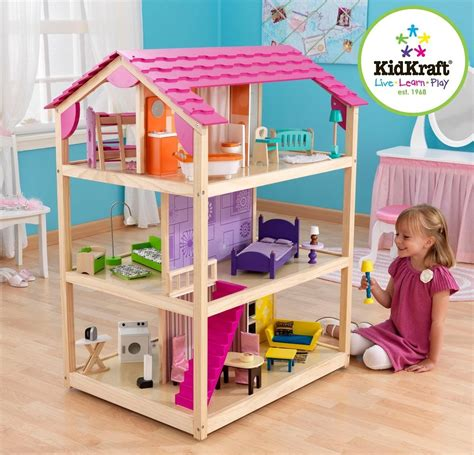 barbie dolls house furniture kidkraft so chic dollhouse mansion house w 45 pc furniture set barbie doll too ebay