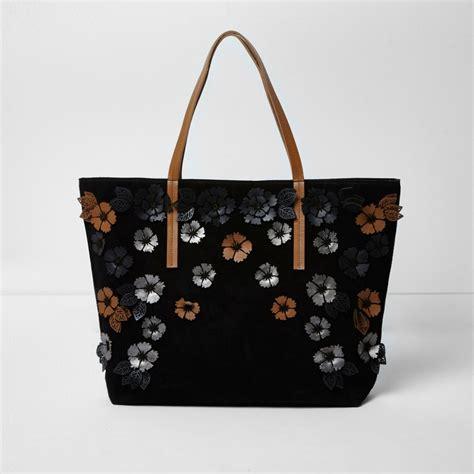 Totebag 3d Vintage black suede 3d flower tote bag bags purses sale