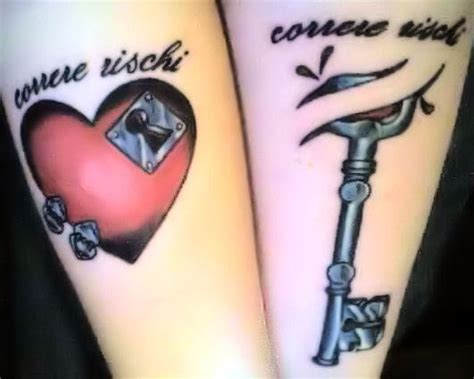 couples heart and key tattoos afrenchieforyourthoughts couples tattoos ideas 12