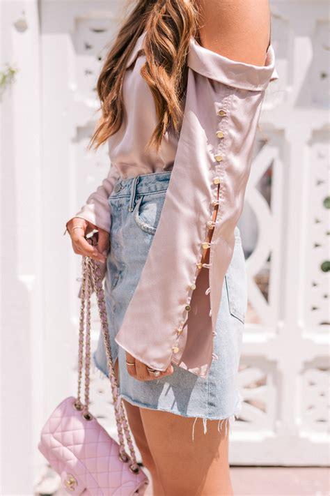 silk top denim skirt gal meets glam