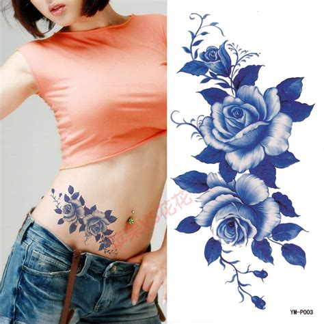 the blue rose tattoo sticker waterproof female portrait
