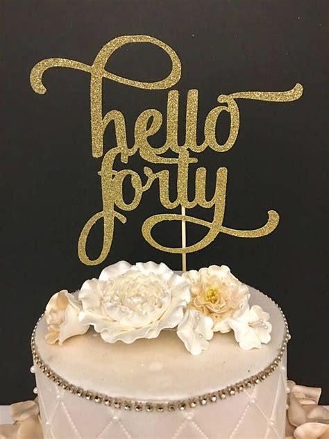 number gold glitter  forty cake topper  birthday cake topper  number debs