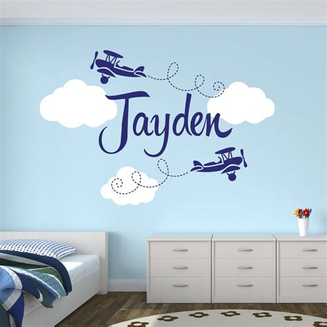 Personalized Airplane Name Clouds Decal Nursery Decor Home Airplane Wall Decals For Nursery