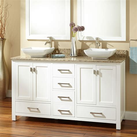 Metal Cabinet With Drawers 60 Quot Modero Double Vessel Sink Vanity White Bathroom