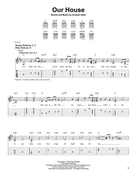 our house chords our house sheet music by crosby stills nash young easy guitar tab 163380