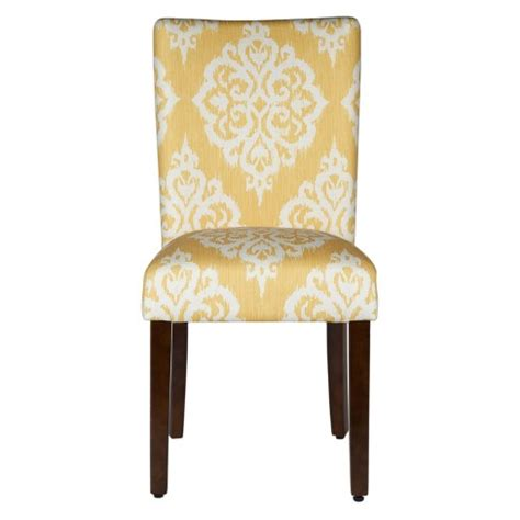 Damask Dining Chair - parson dining chair wood damask yellow set of 2