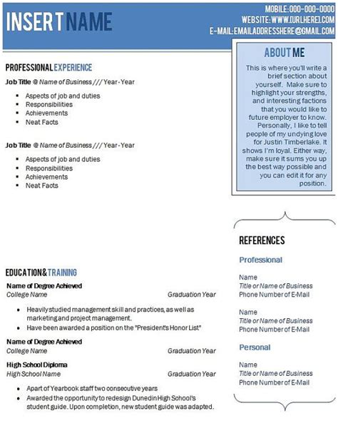 beautiful blue ombre resume template with cover letter and font