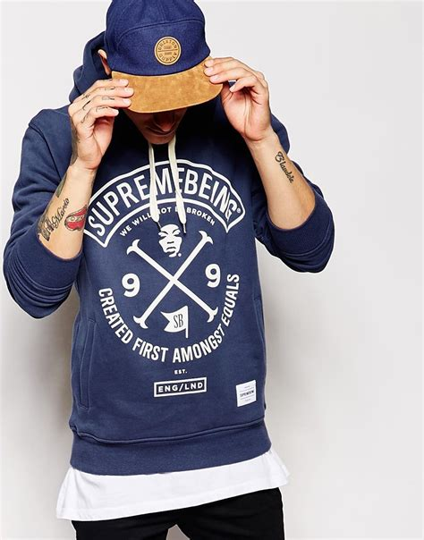 supreme being supremebeing supremebeing colours hoodie in blue for