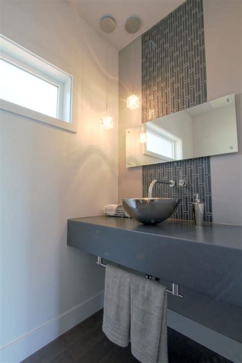 modern bathroom  gray tile accent strip  stainless