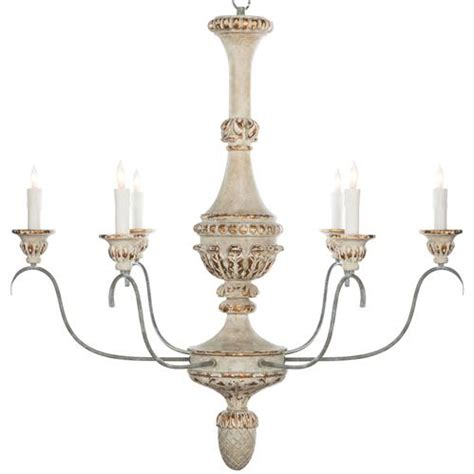 Antique White Chandelier Remmy Country Antique White Chandelier
