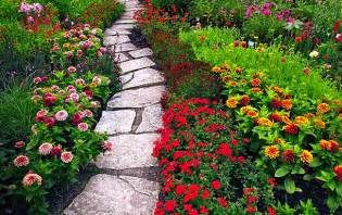 Beautiful flower garden path home exterior design ideas