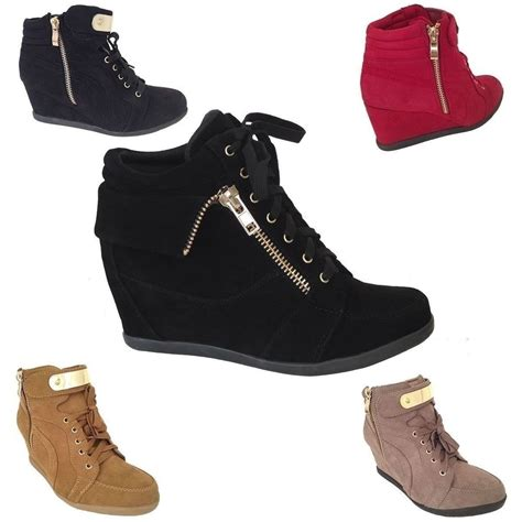 new womens wedge sneakers high top fashion heels booties