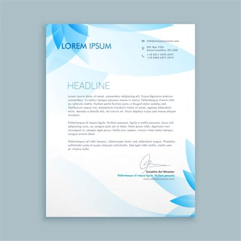 Business Letter Design Sle Business Letter With Blue Flowers Vector Free