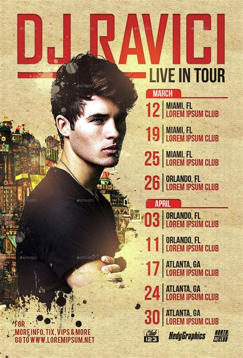 dj artist tour flyer template by hedygraphics