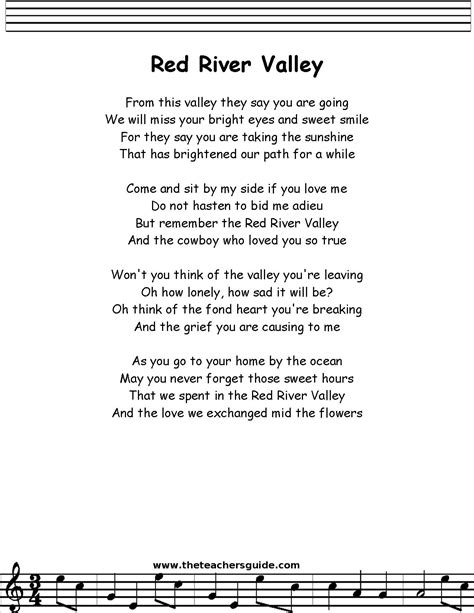 song of velly river valley lyrics printout midi and