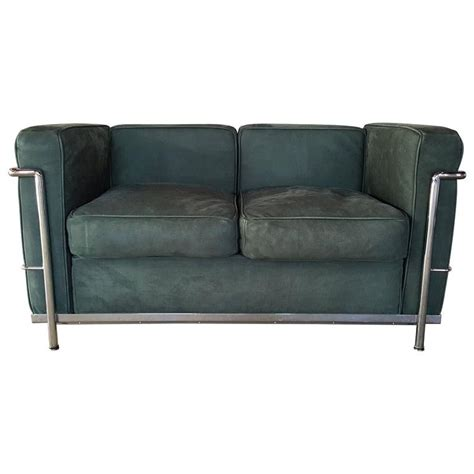 le corbusier loveseat le corbusier two seat sofa loveseat green suede and