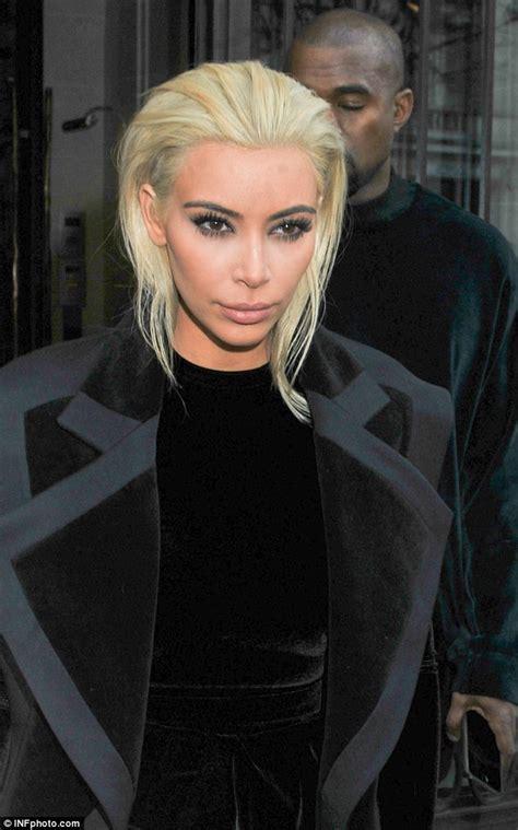 paris hair style2015 kim kardashian unveils platinum blonde locks daily mail