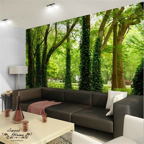 home decor wall murals green forest nature landscape wall paper wall print decal