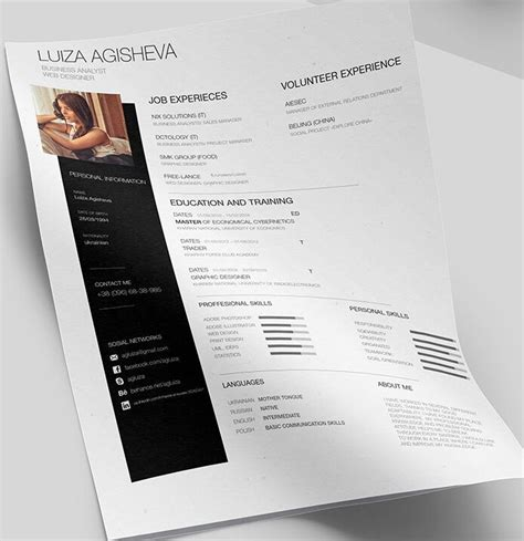 Cv Template Free Psd 130 New Fashion Resume Cv Templates For Free 365 Web Resources