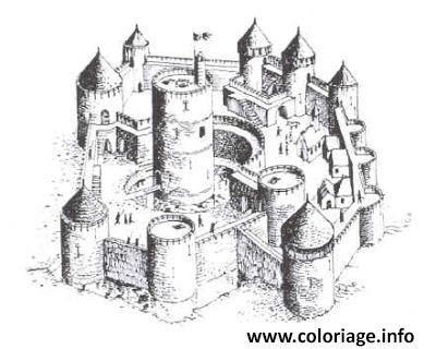 Coloriage Chateau Fort Du Moyen Age 2 Dessin