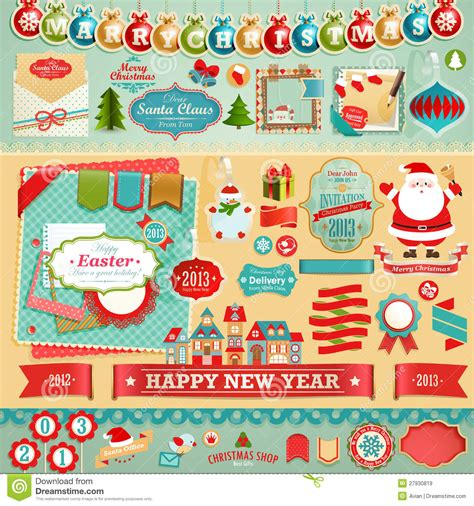 christmas scrapbook elements royalty  stock images image