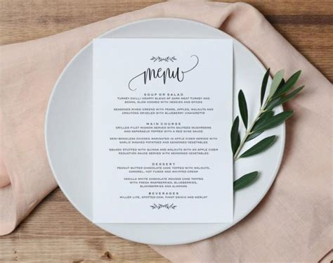 free table menu card template wedding menu printable wedding menu template rustic