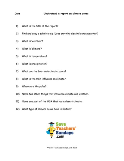 Weather Vs Climate Worksheet by Comprehension Guided Reading On Climate Zones By