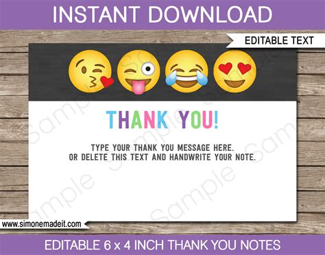 4 bar note card template emoji printables invitations decorations