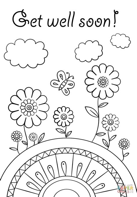get well soon colouring card template get well soon coloring page free printable coloring pages