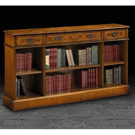 iain 3 drawer burr walnut low bookcase at smiths the