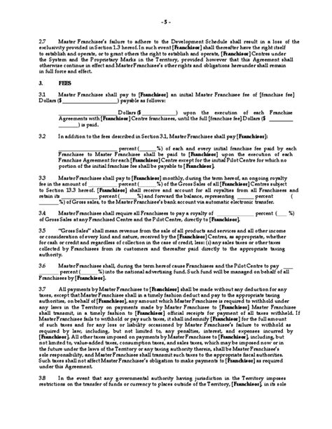 master franchise agreement template master franchise agreement free