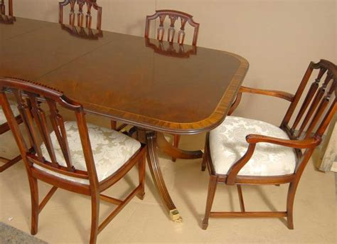 White Pedestal Dining Table Set Regency Dining Set Pedestal Table And Hepplewhite Chairs